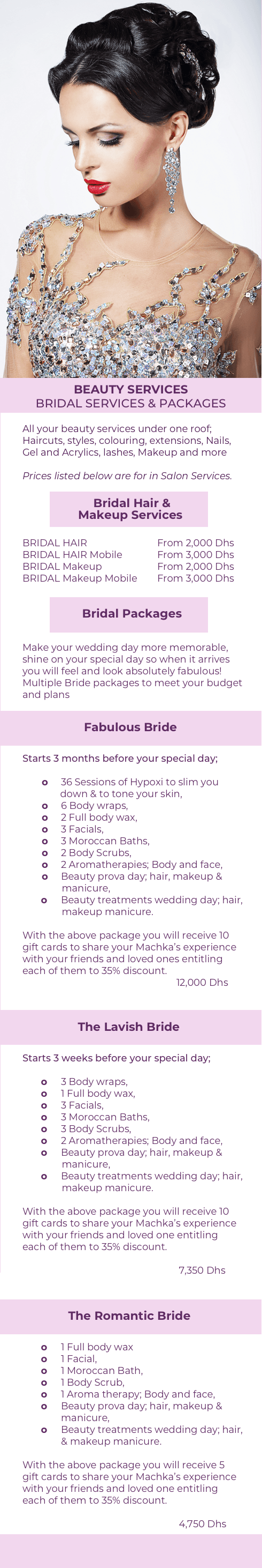 Machka Beauty & Body Design Bridal Packages - Bride beauty salon treatments - Shine on your wedding day - Ladies only Dubai beauty Salon